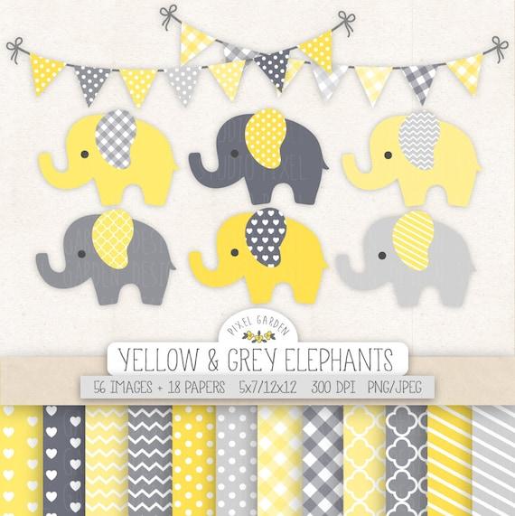 Lindo elefante Clipart. Bebé ducha Clip Art papel Digital | Etsy