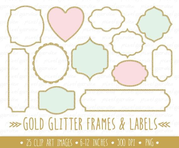 Gold Glitter Frames Clipart Gold Glitter Labels Clip Art Etsy