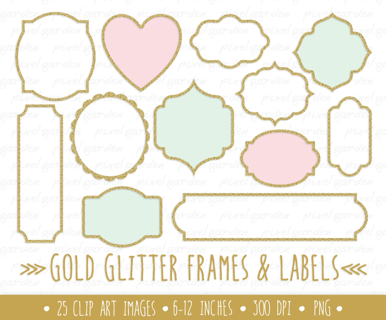 Gold-Glitter Rahmen Clipart. Gold-Glitter Etiketten ClipArt.   Etsy