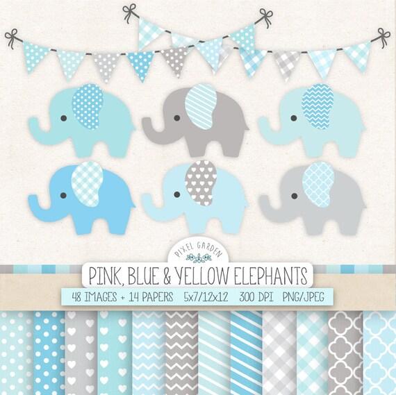 Elefante azul Clip Art para infantiles Baby Shower. Bebé niño | Etsy