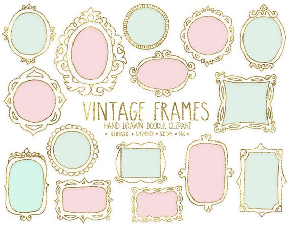 Gold Mint Pink Frame Clipart Digital Hand Drawn Frames Etsy