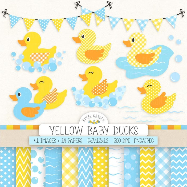 Baby Duck Clipart Yellow Rubber Duck Baby Shower Clip Art Etsy