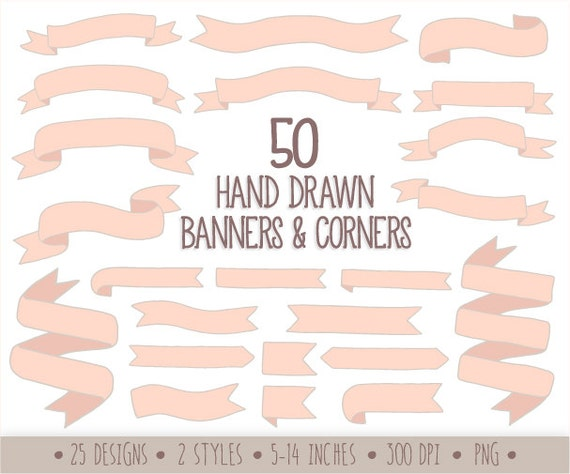60 Off Sale Hand Drawn Banners Clip Art Doodle Ribbon