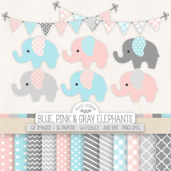 Rosa Elefant Clipart Fur Kinderzimmer Junge Pink Madchen Etsy