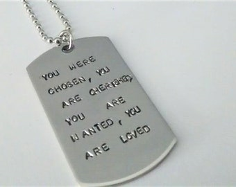 Adoption Necklace, Adoption, Adoption Gift, Adoption Token, You Were Choosen, You Are Cherished, You Are Wanted, You Are Loved, Stamped