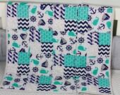 Baby Quilt, Handmade Baby Quilt, Nautical Theme Baby Quilt, Modern Baby Quilt, Baby Gift, Newborn Gift, Baby Shower Gift, Holiday Baby Gift