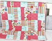 Baby Quilt, Quilt for a girl, Modern Baby Quilt, Handmade Baby Quilt, Baby Shower Gift, Holiday Baby Gift.