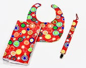 Bib, Burp Cloth and Pacifier Leash
