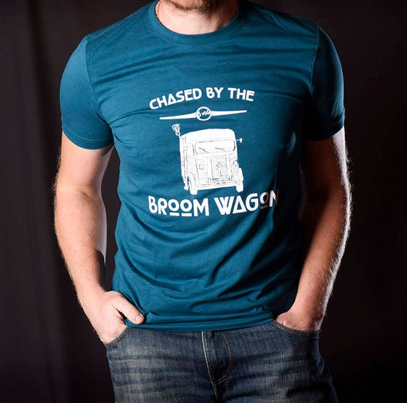 Chased by the Broom Wagon  Awesome Organic Cotton Cycling T Shirt   Gift