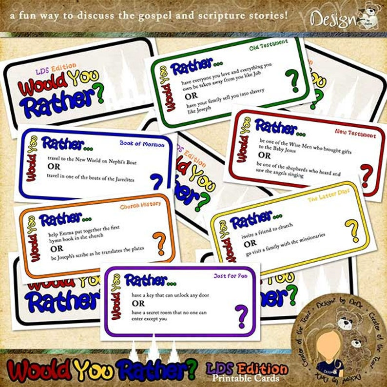 graphic relating to Would You Rather Cards Printable called Would Yourself As a substitute - LDS Model Printable Card Sport