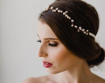 Bridal Hair Vine | Bridal Headpiece | Pearl Hair Vine | Wedding Hair Vine | Pearl Headpiece | Gold Pearl Halo | Gold Hair Wreath | Daria