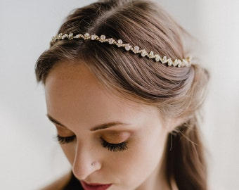 Wedding Headpiece | Bridal Hair Vine | Bridal Headband | Bridal Headpiece | Gold Wedding Hair Vine | Gold Rhinestone Headband | Astrid