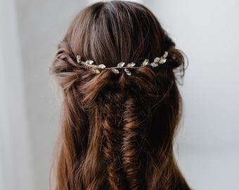 Bridal Hair Piece | Crystal Leaf Hair Vine | Gold Leaf Hair Vine | Wedding Hair Piece | Bridal Headpiece Hair Piece | Gold Nora Hair Combs