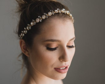 Gold Headpiece | Bridal Headband | Wedding Headband | Wedding Hair Vine | Gold Hair Vine | Crystal Headband | Gold Bridal Hairband | Daisy