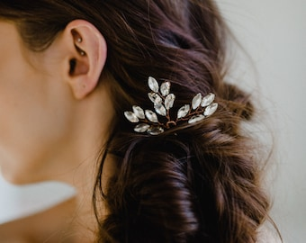 Wedding Hairpin | Rose Gold Hair Pin | Bridal Hair Comb | Crystal Leaf Headpiece | Crystal Hair Clip | Rhinestone Hair Accessories | Nora