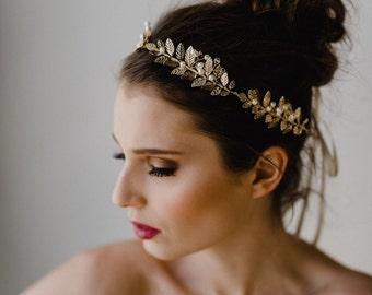 Gold Leaf Hair Vine | Gold Leaf Wedding Headband | Gold Leaf Bridal Headpiece | Gold Leaf Wedding Hairpiece | Gold Meadow Hair Vine