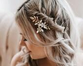 Opal Hair Comb   Bridal Hair Comb   Gold Leaf Hair Comb   Wedding Hair Piece   Bridal Headpiece   Gold Hair Comb   Esme Hair Comb