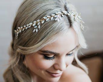 Opal Hair Vine   Gold Bridal Hair Vine   Gold Wedding Headpiece   Boho Wedding Hairpiece   Opal Headpiece   Opal Hair Wreath