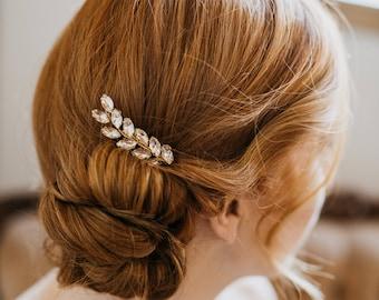 Leaf Hair Comb | Bridal Hair Comb | Bridal Headpiece | Gold Leaf Hair Comb | Crystal Hair Comb | Wedding Hair Comb | Wedding Headpiece Wynn