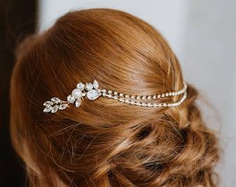 Wedding Hair Chain | Bridal Hair Chain | Bridal Headpiece | Bridal Hair Piece | Gold Hair Chain | Gold Bridal Head Chain | Rachel Hair Piece