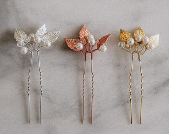 Rose Gold Hair Pins | Leaf Hair Pin | Bridal Hair Pin | Set ofRose Gold Hair Pin | Rose Gold Leaf Headpiece | Rose Gold Lucy Hair Pin