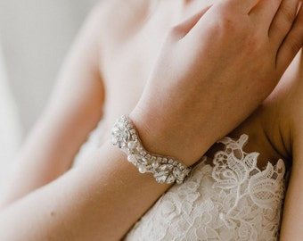 Silver Bridal Cuff   Wedding Bracelet   Silver Pearl Bracelet   Crystal Bridal Bracelet   Wedding Cuff   Silver Adelaide Cuff