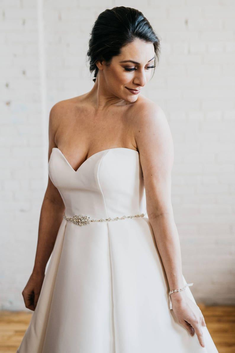 Rhinestone Wedding Belt Sash Crystal Bridal Sash Thin Silver Wedding Belt Silver Bridal Sash Silver Hadley Sash