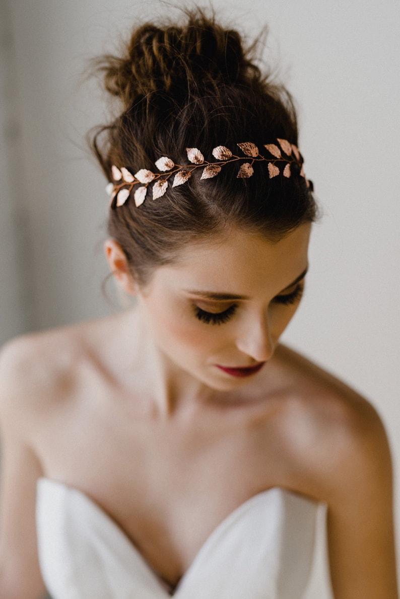 Rose Gold Leaf Bridal Headband  d5179477491