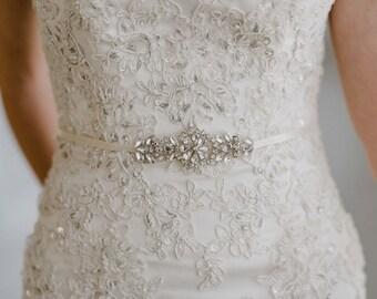 Bridesmaid Belt | Petite Bridal Belt | Silver Bridal Sash | Bridesmaid Sash | Crystal Bridal Sash | Bridal Sash Belt | Petite Gemma Sash
