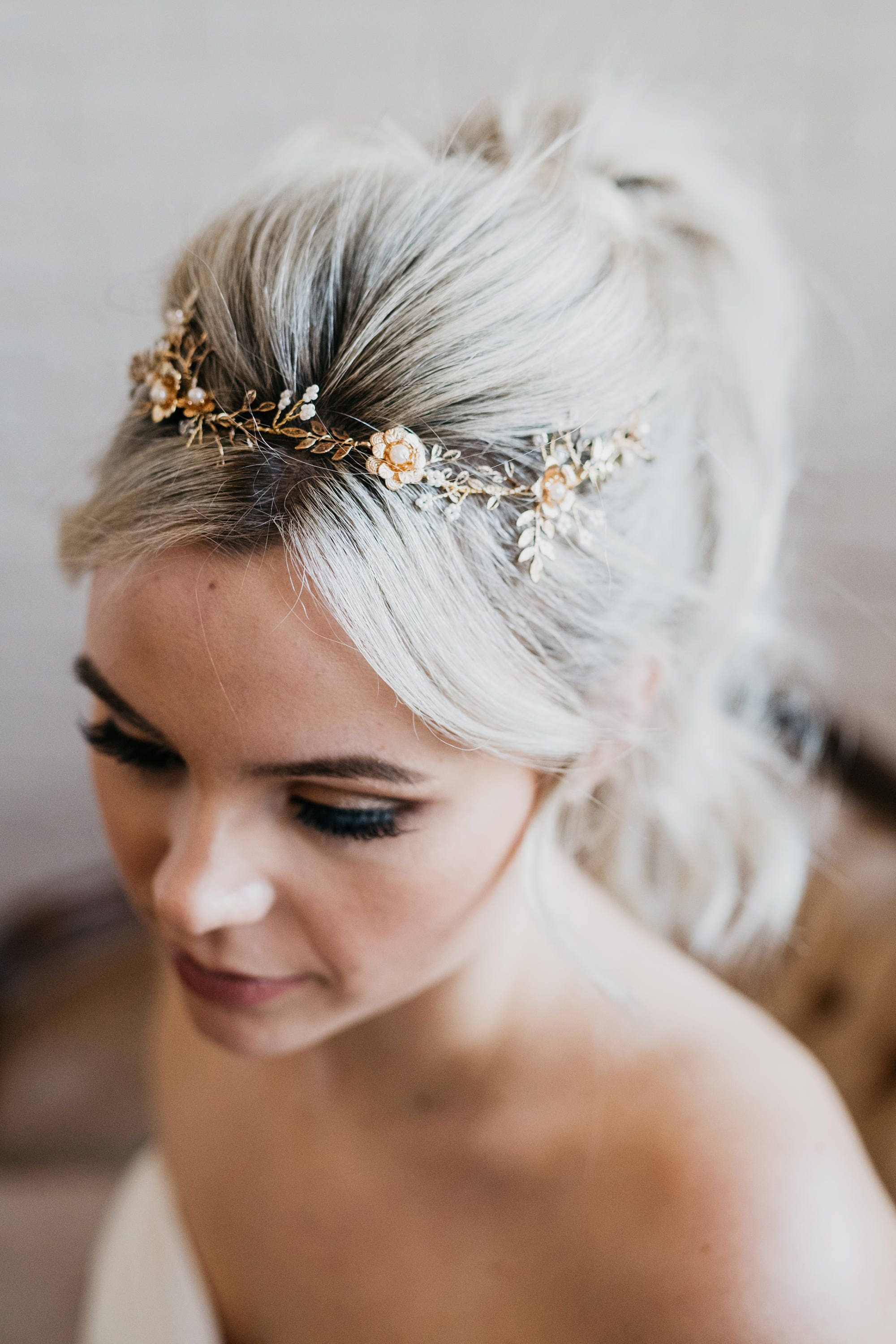 gold bridal headpiece gold flower hair wreath leaf hair