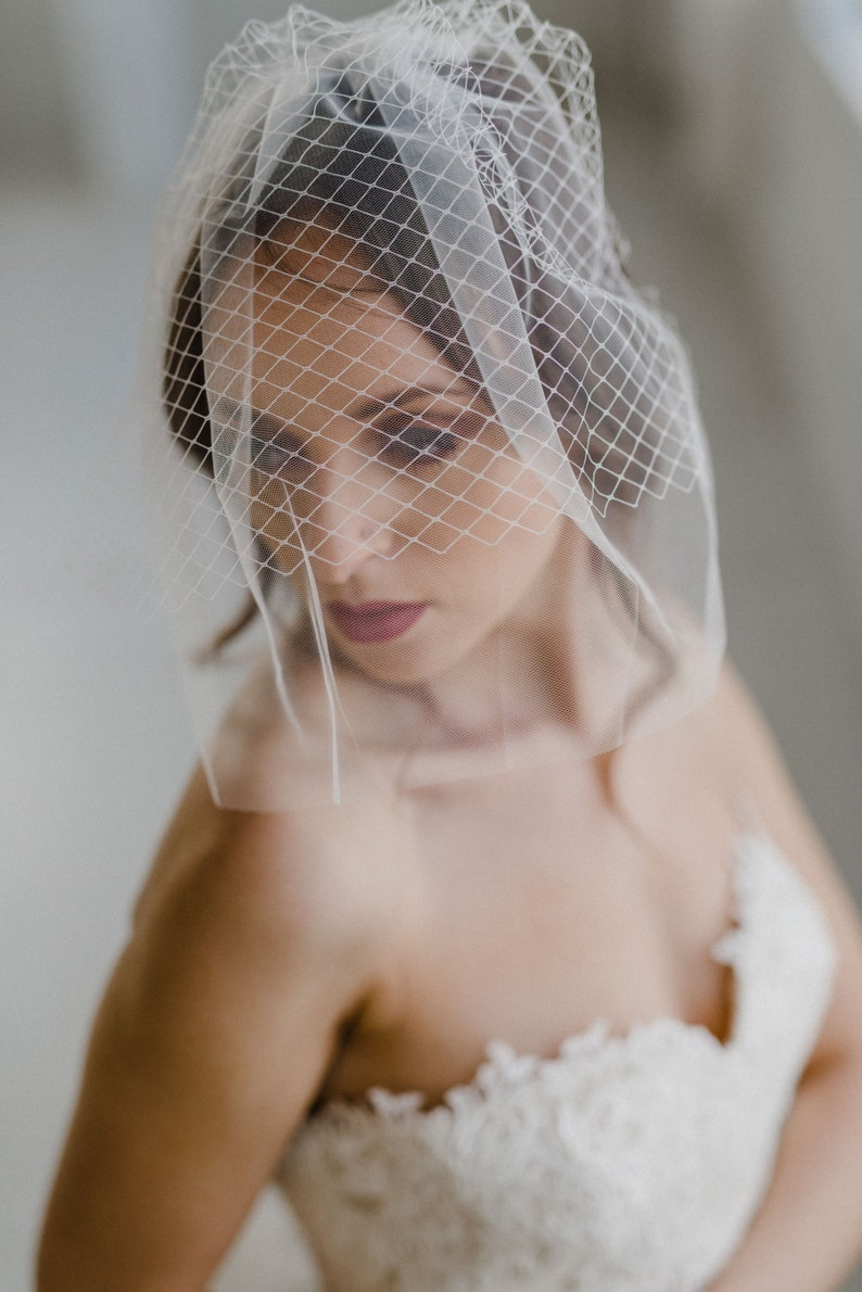 Blusher Veil Tulle Birdcage Veil Double Layer Veil Wedding Veil Bridal Veil White Veil Birdcage Veil Tulle Veil Ivory Veil