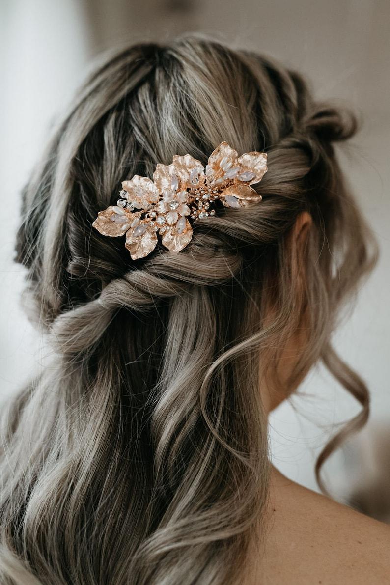 Bridal Hair Comb Opal Hair Comb Leaf Hair Comb Rose Gold Bridal Headpiece Rose Gold Opal Hair Piece Margot Comb