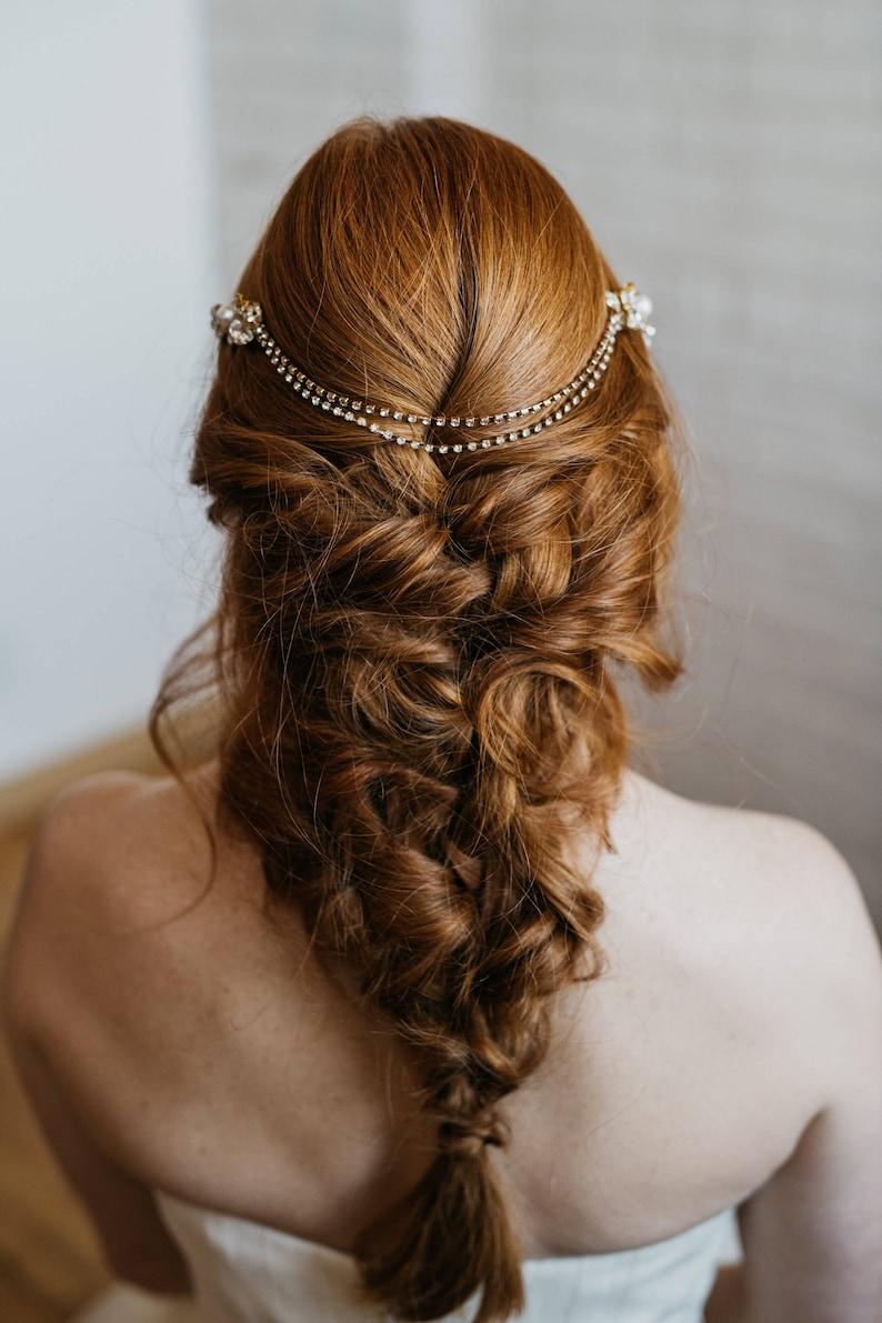 Bridal Headpiece Wedding Hair Chain Gold Bridal Head Chain Bridal Hair Chain Rachel Hair Piece Bridal Hair Piece Gold Hair Chain