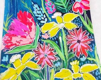 Original artwork, original painting, floral painting, flower garden, livingroom art, home office art,art gallery wall, garden flowers, paint