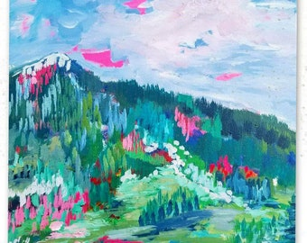 Giclee art print,  Colorado mountains, colorful art print of vibrant original painting, 8x8 square easy to frame art print, home office art