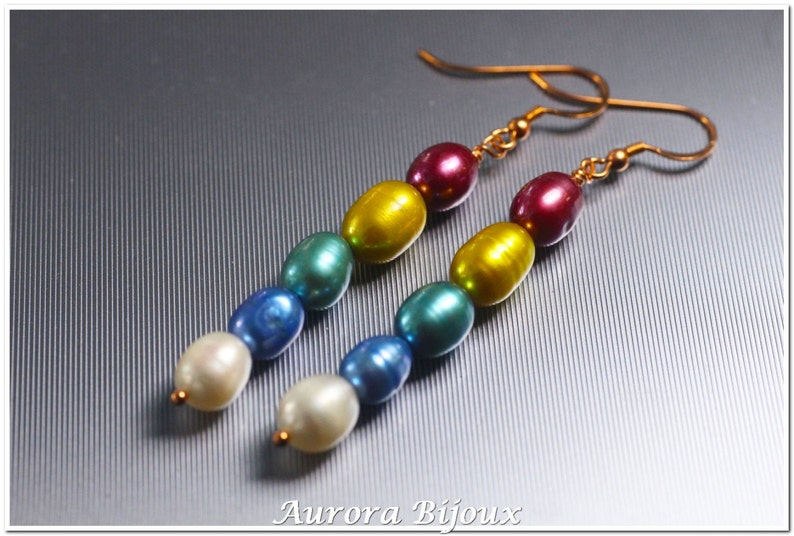 Long earrings with Freshwater pearls silver gold plated 925