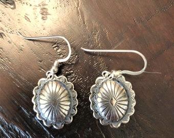 Big Silver Concho Earrings Sterling Heart
