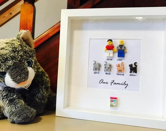6d4faf6455f Cat Lovers Gift - Lego® Family Frame. Gift for cat lovers. Personalised cat  gift.