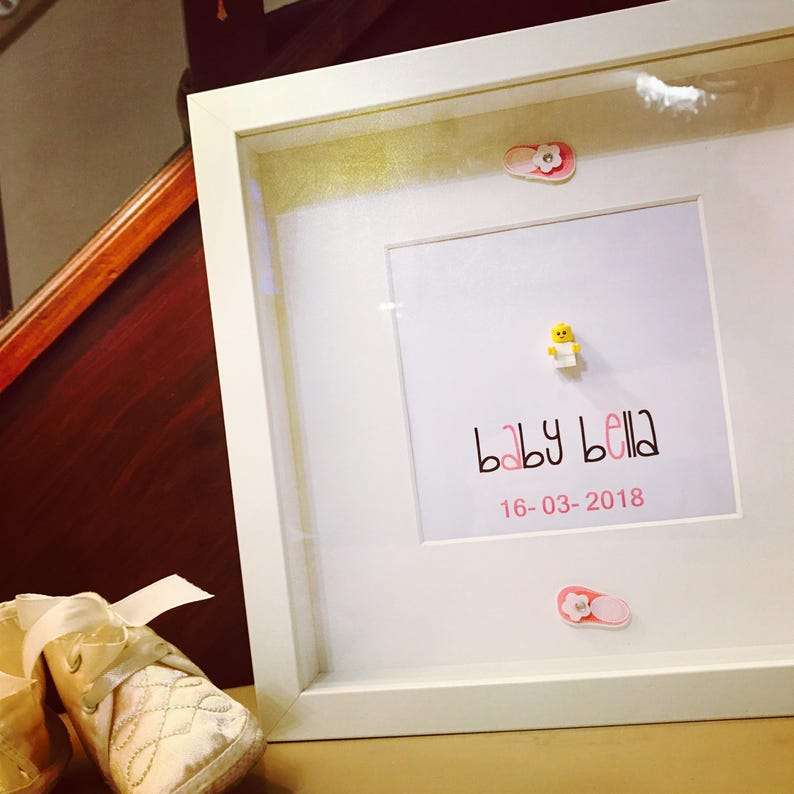 a8445f5c036 New Baby Gift Personalised Lego® Frame. New baby girl gift.
