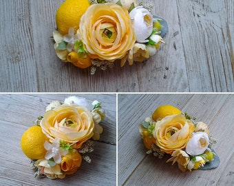 Yellow lemon floral headband