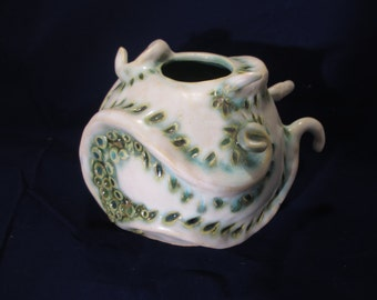 Sea themed round tentacles vase seafoam and white hand made ceramic