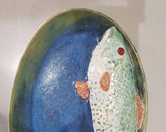 Gorgeous hand made ceramic fish oval platter - blue large