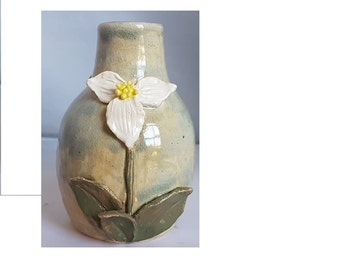 Ceramic orchid flower blue and white vase unique hand made