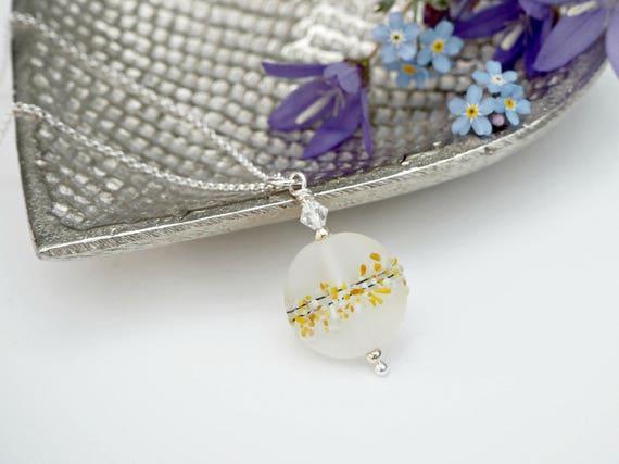 580c8dd0847a Collar de Murano de vidrio esmerilado amarillo mar cristal