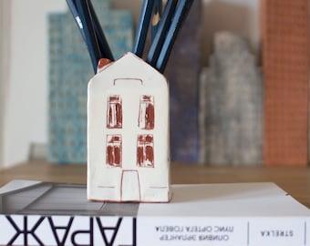 Teacher Appreciation Gift-White House-Pencil Holder-Ceramic House-Ceramics And Pottery