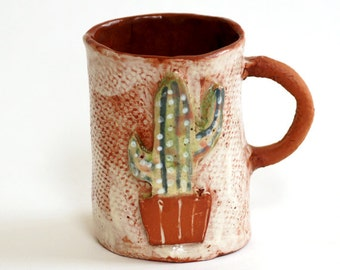 Ceramic Coffee Mug-Desert Art-Ceramic Cactus-Botanical Mug-Cactus Mug