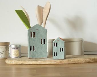 Utensil Holder-Ceramic house-Kitchen Organizer-Ceramics And Pottery