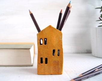 Teacher Appreciation Gift-Candle Holder-Pencil Holder-Ceramic House-Ceramics And Pottery