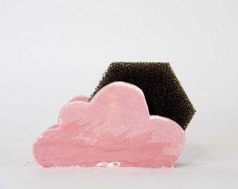 Pink Cloud Sponge Holder- Kitchen Napkin Holder-Ceramics And Pottery