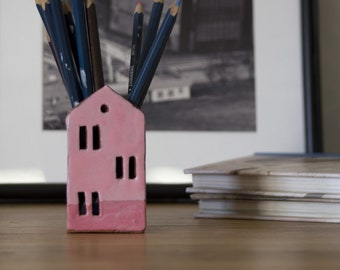 Teacher Appreciation Gift-Candle Holder-Pencil Holder- Pink Ceramic House-Ceramics And Pottery